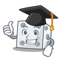 Graduation dice character cartoon style vector
