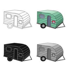 Green caravan icon in cartoon style isolated on vector