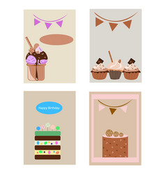 Greeting cards with cakes vector
