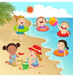 Group kids having fun on beach vector