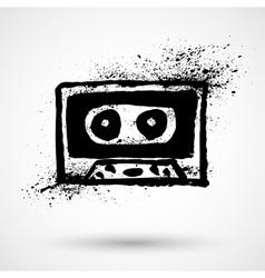 Grunge cassette icon vector