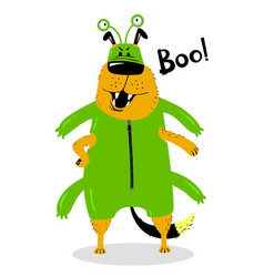 Halloween dog character in the costume of a space vector