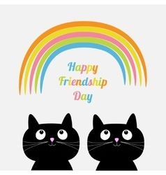 Happy Friendship Day Rainbow Two cute cartoon cat vector