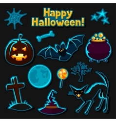 Happy halloween sticker set with characters and vector
