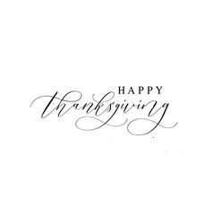 happy thanksgiving hand-written ink text for cards vector image
