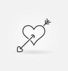 heart with arrow outline icon valentines vector image