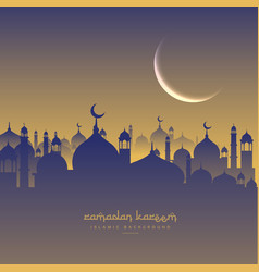 Islamic ramadan festival with moon and masjid vector