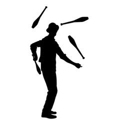 Juggler artist silhouette juggling with pin vector
