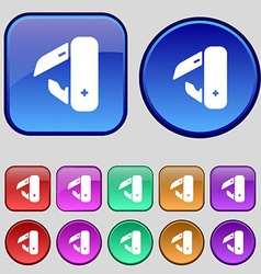 knife picnic icon sign A set of twelve vintage vector image