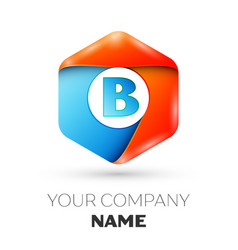 letter b logo symbol in colorful hexagonal vector image