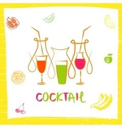 Logo for fresh fruit coctail vector