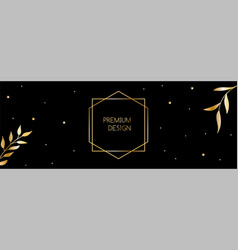 luxury long banner with golden leaves vector image