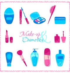 Make-up and cosmetics icon set vector