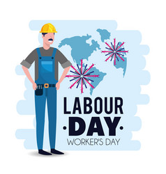 Man mechanic with helmet to labour day vector