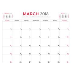 march 2018 calendar planner design template week vector image