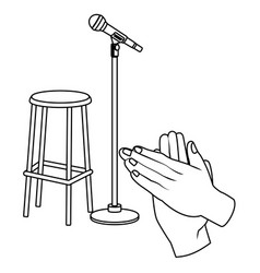 microphone and chair black and white vector image