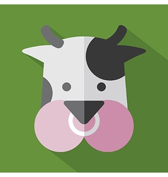 Modern Flat Design Cow Icon vector image