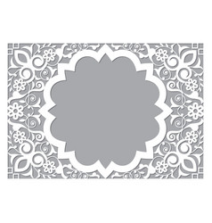 Moroccan retro carved mandala in rectangle frame vector
