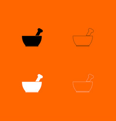 Mortar and pestle black and white set icon vector