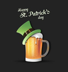 mug of beer with st patrick hat vector image