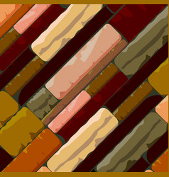 Multicolor brick textured background in retro vector