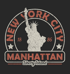 New york the statue of liberty grunge print vector