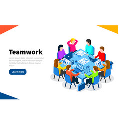 office workers at work place concept coworking or vector image