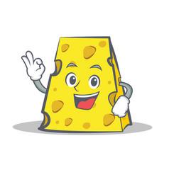 Okay cheese character cartoon style vector