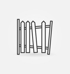 old broken fence concept outline icon vector image