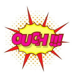 Ouch comic text icon pop art style vector