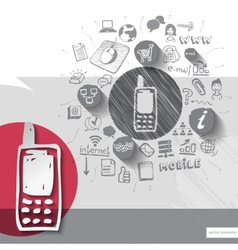 Paper and hand drawn phone emblem with icons vector image