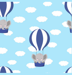 pattern with elephant and air balloon vector image