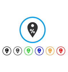 Percent map marker rounded icon vector