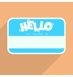Personal card with text hello my name is flat vector
