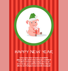 pig with gift box in hat new year or christmas vector image