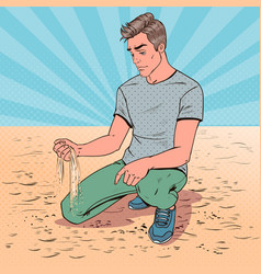 pop art sad young man sitting on the beach vector image