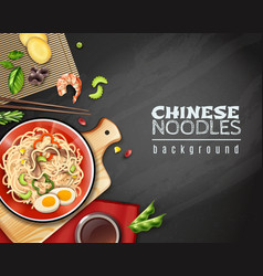 Realistic chinese noodles background vector