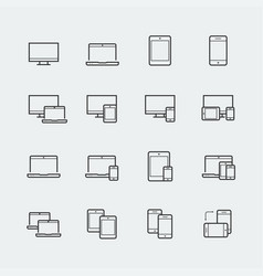 Responsive web design icons for computer monitor vector