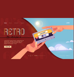 Retro mixtapes cartoon banner with human hands vector