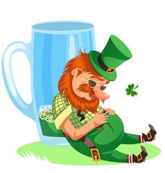 saint patrick day leprechaun with mug green vector image