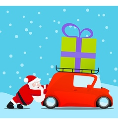 Santa pushing christmas car with gift vector