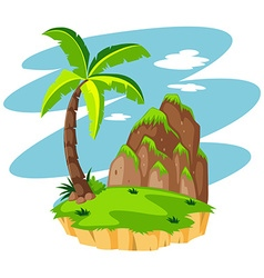 Scene with coconut tree on island vector