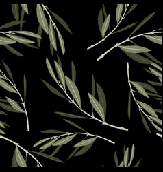 Seamless black background with olive leaves vector