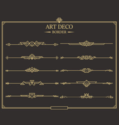 Set art deco gold calligraphic page dividers vector