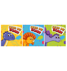 Set different cute dinosaur posters vector