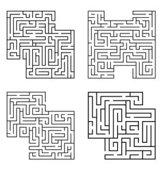 Set four solated black mazes labyrinth vector