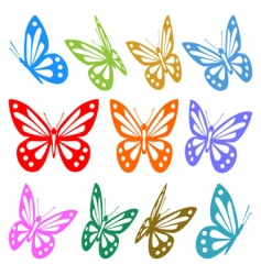set of colorful butterfly vector image