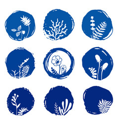 Set of floral ink blue watercolor icons vector