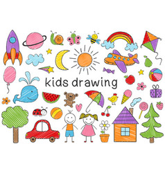 set of isolated colored kids drawing vector image
