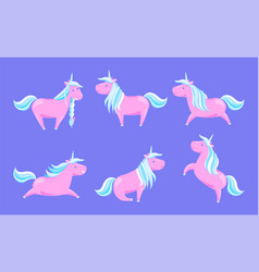 set unicorns in different poses isolated vector image